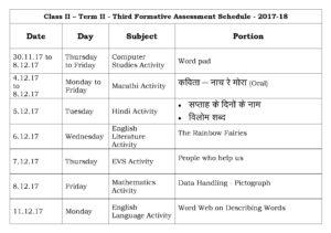 Class II – Term II – Third Formative Assessment Schedule – 2017-18