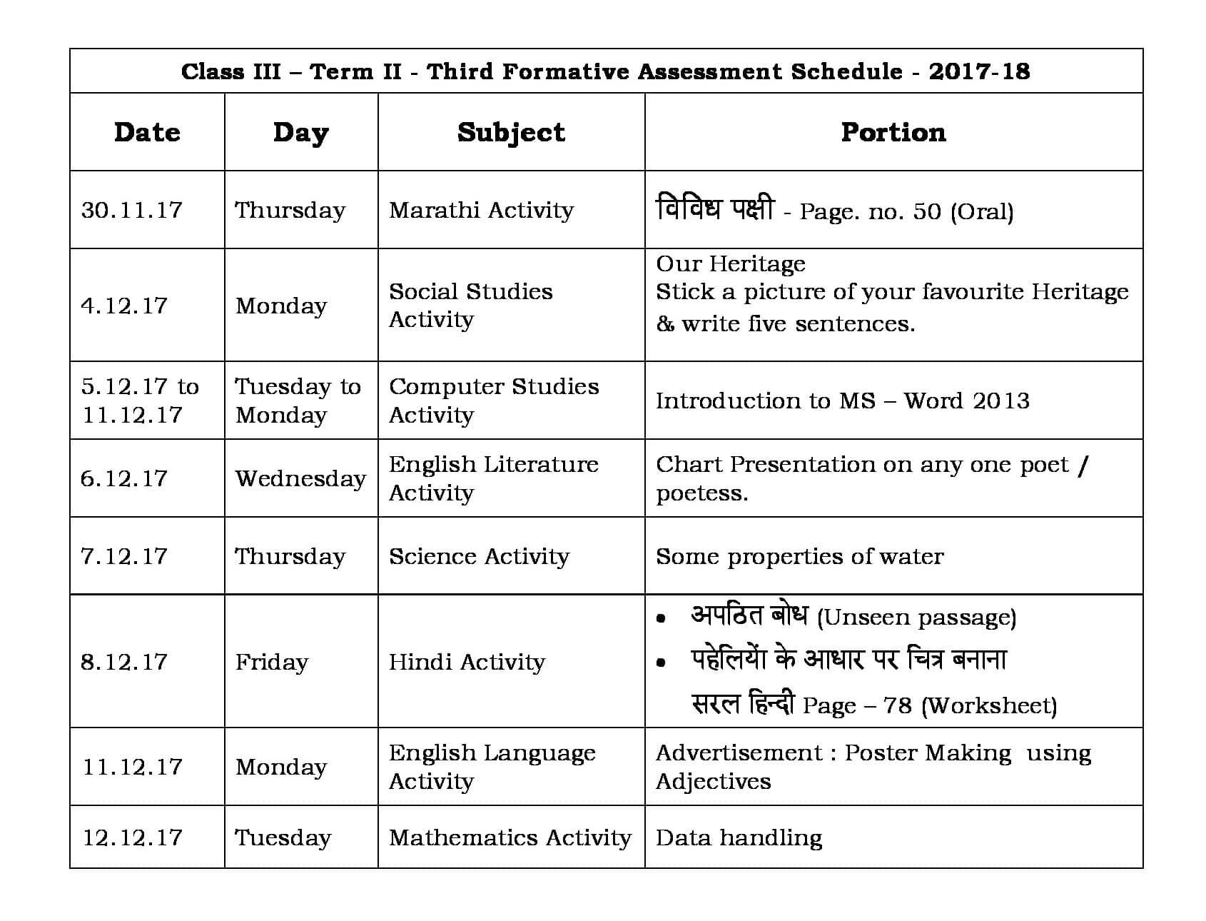 Class 3 Term II – Third Formative Assessment Schedule 2017