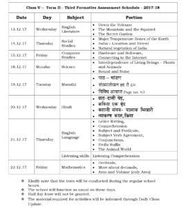 Class 5 Term II – Third Formative Assessment Schedule 2017-18