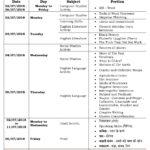 Class 4 Term I – First Formative Assessment Schedule 2018-19