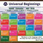 TASKS Calendar- July, 2018.