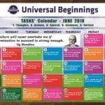 TASKS Calendar- June, 2018.