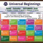 TASKS Calendar- September, 2018.
